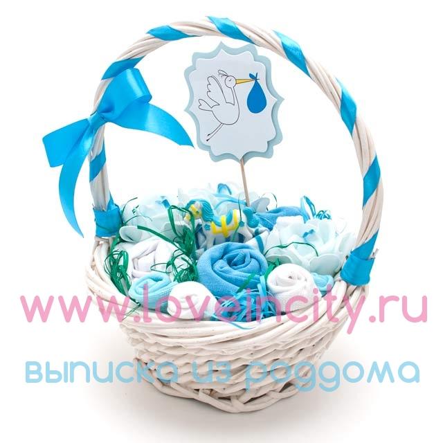Корзина с подарками на рождение 19