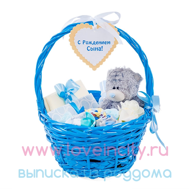 Корзина с подарками на рождение 935